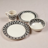 Black & Grey Hand-Painted Pottery Dinnerware