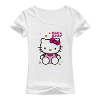2018 New Hello Kitty Women's T-Shirt Cotton Print T-Shirt
