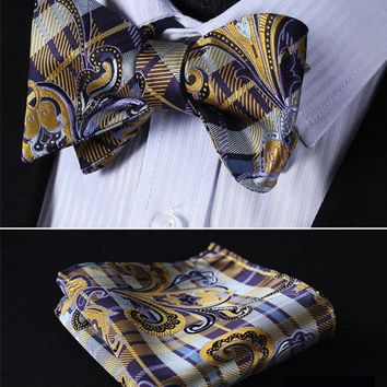 Floral 100%Silk Jacquard Woven Men Butterfly Self Bow Tie BowTie Pocket Square Handkerchief Hanky Suit Set #RF3
