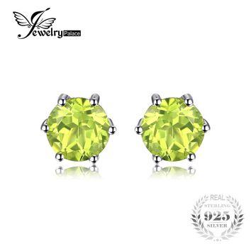 JewelryPalace Round 1.1ct Natural Genuine Peridot Stud Earrings Solid 925 Sterling Silver 2016 New Fine Jewelry For Women