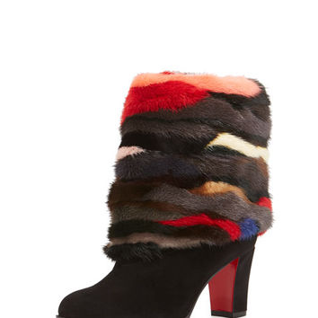 Christian Louboutin Mink-Cuff Suede 70mm Red Sole Bootie