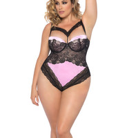 FLORI TEDDY WITH LACE AND SATIN TIE