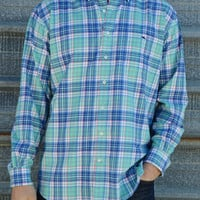 Vineyard Vines Honeygail Flannel Classic Tucker Shirt- Antigua Green
