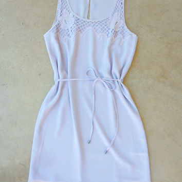 Crochet Trim Lilac Dress [6866] - $36.00 : Feminine, Bohemian, & Vintage Inspired Clothing at Affordable Prices, deloom