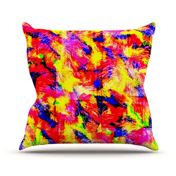 "Ebi Emporium ""The Flock"" Yellow Red Throw Pillow"