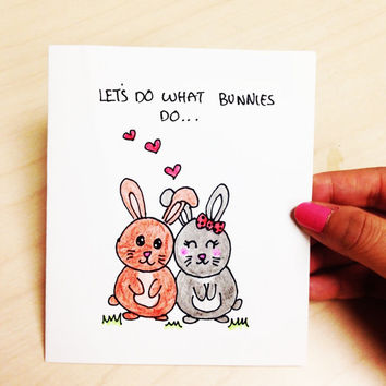 Funny Adult Card, funny valentine card, let's do what bunnies do, funny boyfriend card, girlfriend, original hand drawn cartoon card