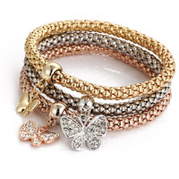 Great Deal Stylish Awesome Shiny Gift New Arrival Hot Sale Alloy 3-color Set Stretch Chain Diamonds Butterfly Pendant Accessory Bracelet [6368949444]
