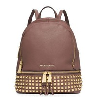 Rhea Small Studded Leather Backpack | Michael Kors