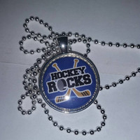 "Hockey Rocks 1"" Pendant Necklace, free shipping, stocking stuffer"