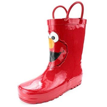 Sesame Street Elmo Kids Rain Boots (7/8 M US Toddler, Elmo Red)