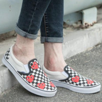 VANS & PLAY Co-brand Classic Casual Shoes Love Smiley Lattice Skate Shoes Canvas Shoes F0400-1