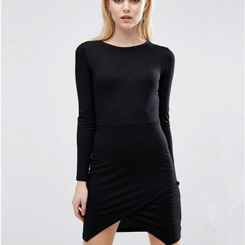 Black Long Sleeve Asymmetric Hem Mini Dress