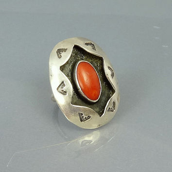 Vintage Navajo Sterling Silver Red Coral Shadow Box Ring