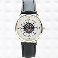 Compass Watch with Black Strap - Urban Outfitters