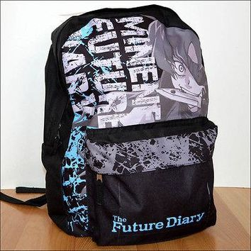 Future Diary Minene Uryu Anime Costume Cosplay Black Backpack Book Bag LICENSED