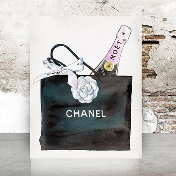 ONETOW Wall Art Chanel Bag Print Poster - Pop Art, Fashion, Shoes French, Vintage, Art Deco 645
