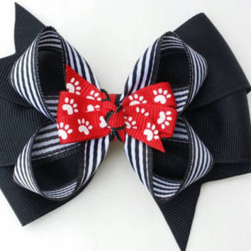 red and black hair bow, paw print, back to school bow, football team colors, stacked grosgrain ribbon 4 inch, alligator clip, layered bow