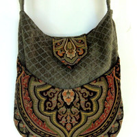 Tapestry Gypsy Bag Messenger Bag Bohemian Green Chenille  large bag renaissance bag messenger bag medieval bag