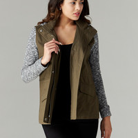 Love Tree: Sweater Beat Utility Jacket in Olive