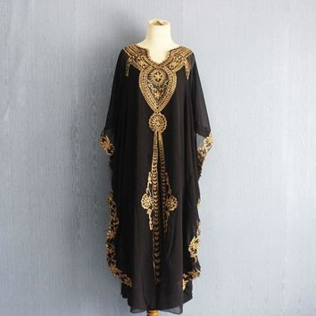 Oversize Black Kaftan Dress, Plus Size Maxi Caftan Dress Summer Chiffon Kaftans, Moroccan Black Caftan Dress, Gold Embroidery Kaftan Dress