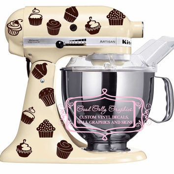 Kitchen mixer vinyl decal set 40 piece CUPCAKE decal set