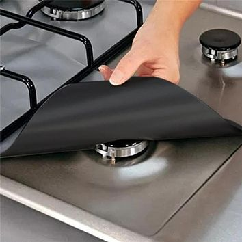Protector Liner Cover For Cleaning Kitchen accessory silver 4Pcs Reusable Foil Gas Hob Range Stove Top Burner