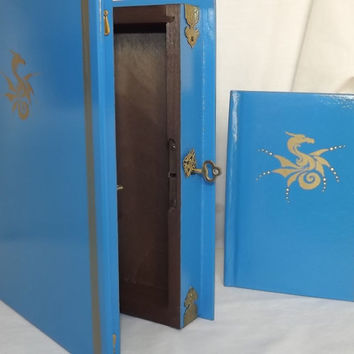 Dragon Lock box with matching note book. Lockable wooden book box. For Books, Letters, Documents, Travel Papers. Can be personalised.