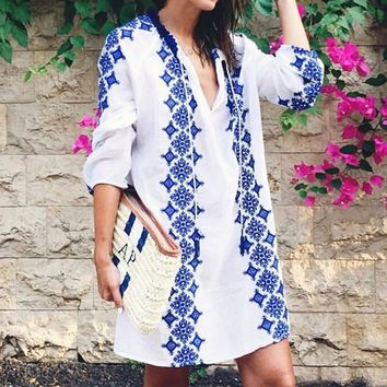 Women's Embroidered White Beach Tunic (3 Colors)