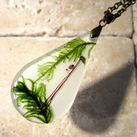Moss (Kindbergia oregana) Necklace, woodland, bryophytes, plant jewellery, nature jewelry, leaf,  green, forest