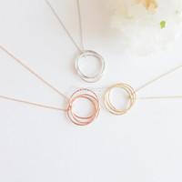 karma o three interlocking circle necklace, three ring necklace, three circles necklace, 3 sisters necklace