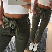 2019 New style Fashion Women suede pants style ladies Leather bottoms female trouser Casual pencil pants high waist trousers