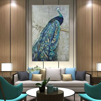 Original Gold and bule Peacock Art Picture Canvas Print Giclee animal art Quadros caudros decor Large Wall Art Pictures For Living Room