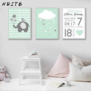 NDITB Birth Stats Custom Poster Nursery Wall Art Canvas Print Cartoon Painting Nordic Decoration Wall Picture for Baby Bedroom