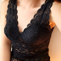 Women sexy lace tank top vest deep V-neck corset camisole low-cut basic tank tops