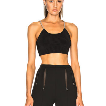 Alexander Wang Ribbed Bra Top with Chain Straps in Black | FWRD