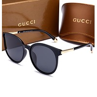 GUCCI Fashion Ladies Men Personality Summer Sun Shades Eyeglasses Glasses Sunglasses Black I-HWYMSH-YJ