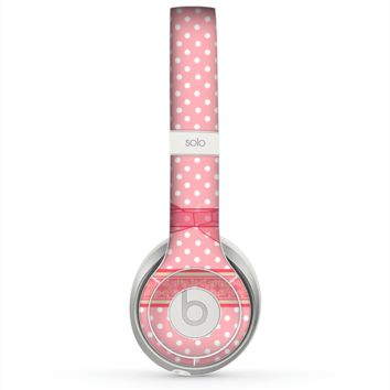 The Subtle Pink Polka Dot with Ribbon Skin for the Beats by Dre Solo 2 Headphones