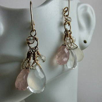 Pale Briolette Earrings wire wrapped in gold, Rose Quartz, Moonstone, Chalcedony, Clear Quartz, Handmade OOAK, HipChickJewelry