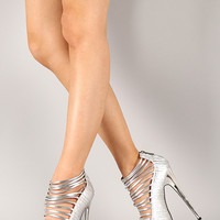 Bumper Elle-32C Metallic Pleated Strappy Peep Toe Stiletto Pump