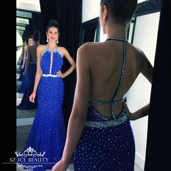 Royal Blue Long Mermaid Prom Dresses Sparkle Crystals Halter Sheer Keyhole Neck Sexy Back Cutaway Sides Evening Dress Gown 2016