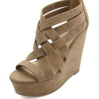 Strappy Caged Platform Wedges by Charlotte Russe - Tan