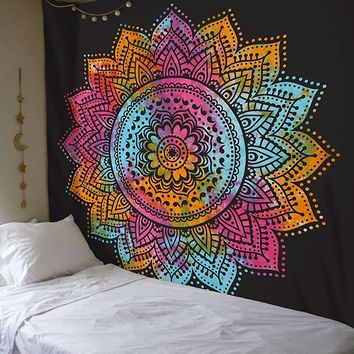 Bohemian Indian Tapestry Mandala Wall Hanging Bedspread India Mandalas To Wall Decorative Wall