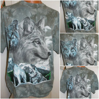 Vintage All Over Nature Print Wolf Theme T Shirt Adult Size Large