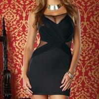 Mesh Criss Cross Sexy Tank Dress   - Diva Hot Couture