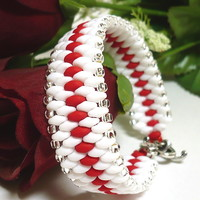 Red and White Superduo Snakeskin Beadwoven Handmade Cuff Bracelet
