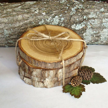Rustic Wood Coasters Set of Four Beautiful Oak Hardwood Wooden Tree Slices