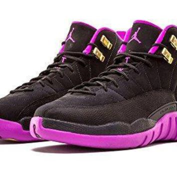 Nike Girls Air Jordan 12 Retro GG Black/Metallic Gold Star-Hyper Violet Suede Jordan