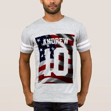 Cool USA Flag Gold Custom MonogramTypography T-Shirt