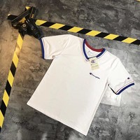 """""""Champion"""" Unisex Retro Casual Letter Embroidery Multicolor Stripe V-Neck Short Sleeve Couple T-shirt Top Tee"""