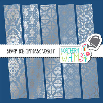 Silver Foil Damask Vellum Digital Paper Pack – vellum papers for wedding and shower invitations & scrapbooking – instant download – CU OK